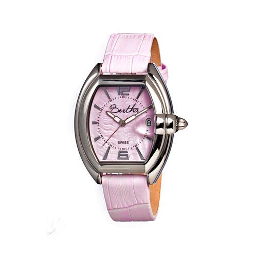 Bertha Chloe Womens Swiss Pink Leather Strap Watch Bthbr3405