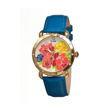 jcpenney.com | Bertha Angela Womens Mother Of Pearl Dial Blue Leather Strap Watch Bthbr3602