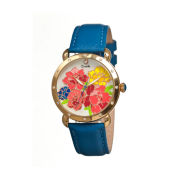 Bertha Angela Womens Mother Of Pearl Dial Blue Leather Strap Watch Bthbr3602
