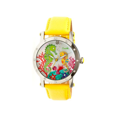 jcpenney.com | Bertha Morgan Womens Mother Of Pearl Dial Yellow Leather Strap Watch Bthbr4202