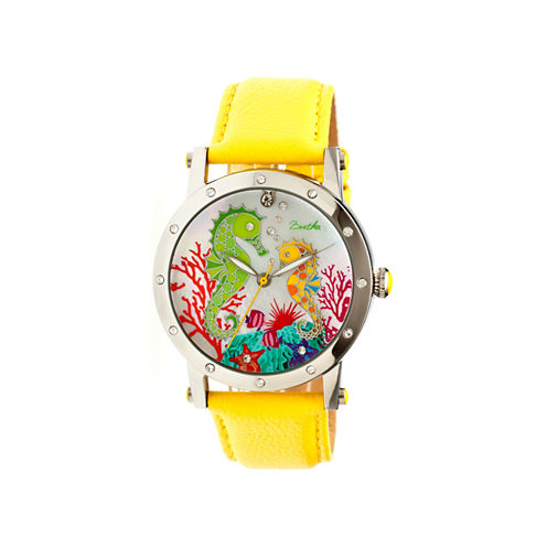 Bertha Morgan Womens Mother Of Pearl Dial Yellow Leather Strap Watch Bthbr4202