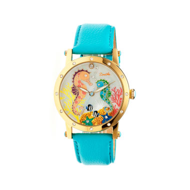 jcpenney.com | Bertha Morgan Womens Mother Of Pearl Dial Turquoise Leather Strap Watch Bthbr4203