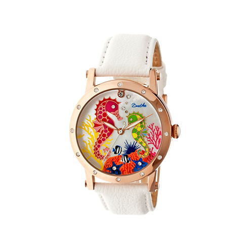 Bertha Morgan Womens Mother Of Pearl Dial White Leather Strap Watch Bthbr4204