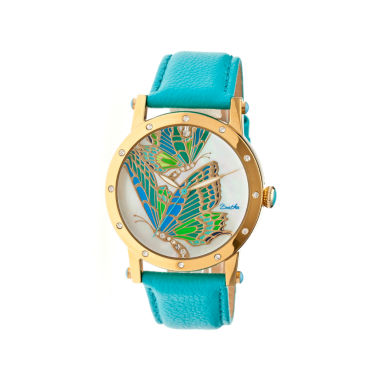 jcpenney.com | Bertha Isabella Womens Mother Of Pearl Dial Turquoise Leather Strap Watch Bthbr4302
