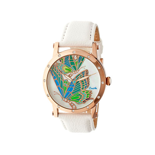Bertha Isabella Womens Mother Of Pearl Dial White Leather Strap Watch Bthbr4304