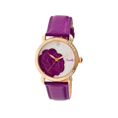 jcpenney.com | Bertha Daphne Womens Purple Rose Leather Strap Watch Bthbr4606