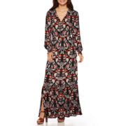 Weslee Rose Long-Sleeve Button-Front Maxi Dress