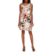 Perceptions Sleeveless Floral Pleat-Front Shift Dress