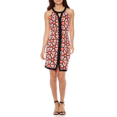 jcpenney.com | Madison Leigh Sleeveless Halter Geo Sheath Dress