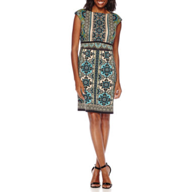 jcpenney.com | London Style Collection Cap-Sleeve Scroll Print Sheath Dress