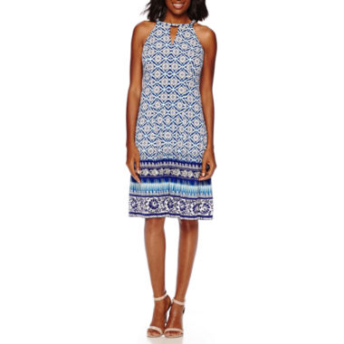 jcpenney.com | London Style Collection Sleeveless Halter Border-Print Fit-and-Flare Dress