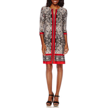 jcpenney.com | Studio 1® 3/4-Sleeve Paisley-Print Shift Dress
