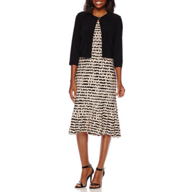 jcpenney.com | Danny & Nicole® 3/4-Sleeve Striped Bolero Jacket Dress