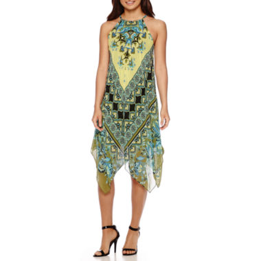 jcpenney.com | MSK Sleeveless Halter Scarf-Print Hanky-Hem Shift Dress