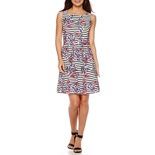 Trulli Sleeveless Floral Striped Fit-and-Flare Dress