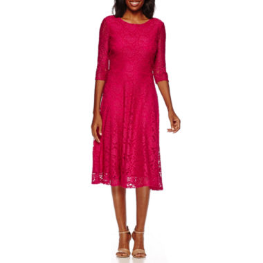 jcpenney.com | Signature by Sangria 3/4-Sleeve Lace Fit-and-Flare Dress