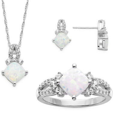 jcpenney.com | Lab Created Opal And White Sapphire Sterling Silver Ring, Pendant, And Earrings