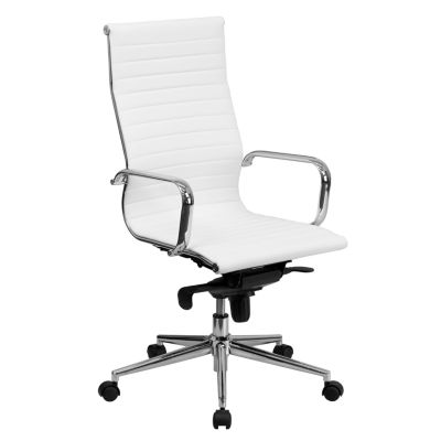 High Back Ribbed Leather Executive Swivel Chair With Knee Tilt Control And  Arms