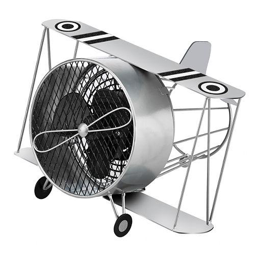 DecoBreeze™ Silver Biplane Figurine Fan