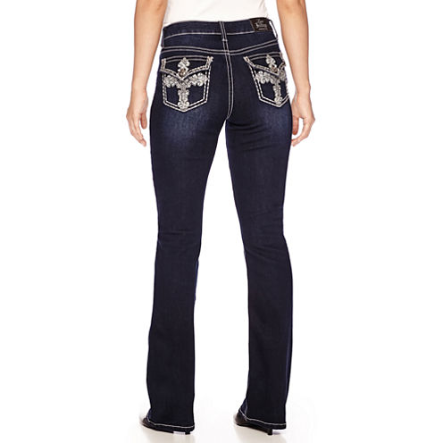 Love Indigo Cross Embellished Thickstitch Back Flap Pocket Bootcut Jean