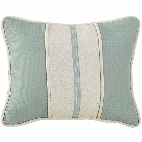 Hiend Accents 16x20 Textured Fabric With Linen Stripe Decorative Trim Bed Rest Pillow