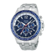 Pulsar® Mens Silver-Tone World-Time Chronograph Watch