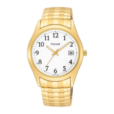 jcpenney.com | Pulsar® Mens Gold-Tone White Dial Expansion Watch PXH430