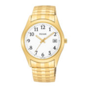 Pulsar® Mens Gold-Tone White Dial Expansion Watch