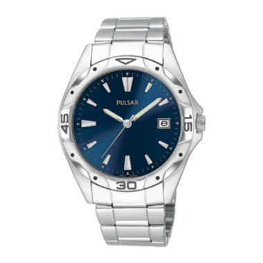 jcpenney.com | Pulsar® Mens Blue Dial Stainless Steel Sport Watch PXH455