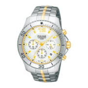 Pulsar® Mens Two-Tone Stainless Steel Chronograph Watch