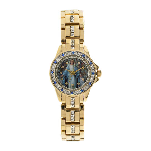Elgin® Womens Virgin Mary Crystal-Accented Watch