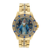 Elgin® Mens Virgin Mary Crystal-Accented Watch