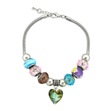 jcpenney.com | Dazzling Designs™ Pink & Blue Glass Bead Silver-Plated Heart Bracelet