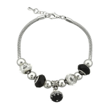 jcpenney.com | Dazzling Designs™ Black Glass Bead Silver-Plated Fireball Drop Bracelet