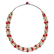Pannee Red Stone Multi-Strand Rope Necklace