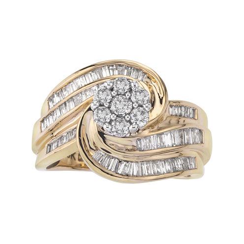 1 CT. T.W. Diamond 10K Two-Tone Gold Swirl Ring