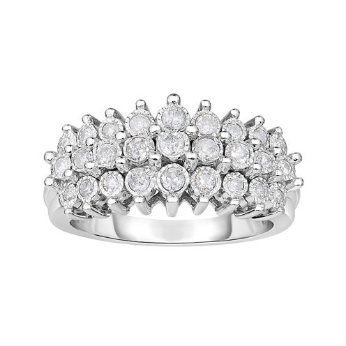 TruMiracle® 1/2 CT. T.W. Diamond Sterling Silver 3-Row Ring