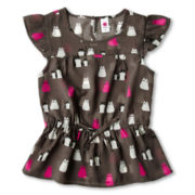 Total Girl® Woven Peplum Top - Girls 6-16 and Plus