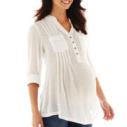 Maternity Roll-Tab Slub Shirt - Plus