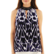 nicole by Nicole Miller® Sleeveless Crossover Print Top