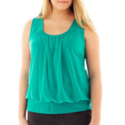 Worthington Sleeveless Smocked Chiffon Mesh Top - Plus