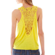 Almost Famous Sleeveless Tie-Front Crochet-Back Top