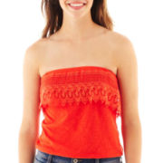 Arizona Ruffle-Trim Lace Crochet Tube Top