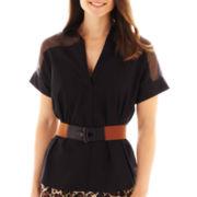 Worthington® Short-Sleeve Belted Shirt