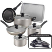 Farberware® 15-pc. Dishwasher-Safe Nonstick Cookware Set-Champagne
