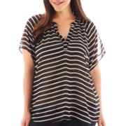 a.n.a® Short-Sleeve Smocked-Neck Peasant Top - Plus