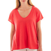 a.n.a® Short-Sleeve V-Neck Shirred-Back Tee - Plus