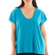 a.n.a® Short-Sleeve V-Neck Shirred-Back Tee - Plus