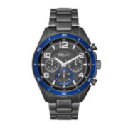Relic® Caleb Mens Gray Stainless Steel Sport Watch ZR15796