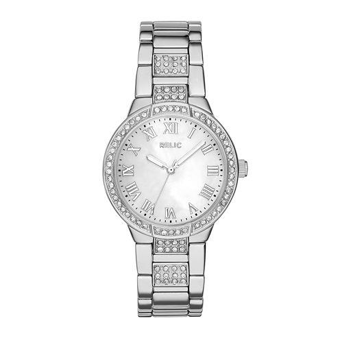 Relic® Julia Womens Crystal-Accent Silver-Tone Bracelet Watch ZR34325
